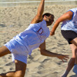 Match of the 19th league of beach handball, Cadiz - Stock Photo