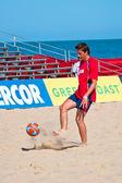 ビーチ サッカー、2005年のスペインの選手権 — ストック写真