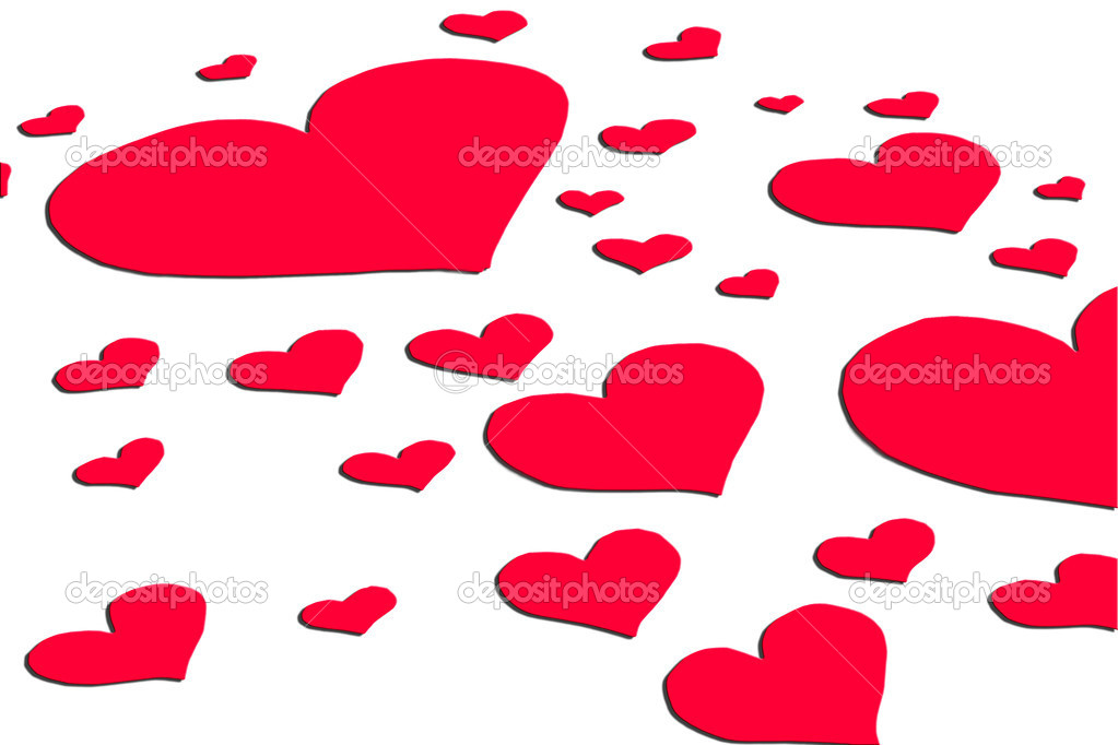 A full background of hearts of different size — Stock Photo #8706574