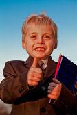 Smiling Schoolboy gesturing OK — Stock Photo