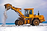 Wheel loader machine removing snow — Stock Photo