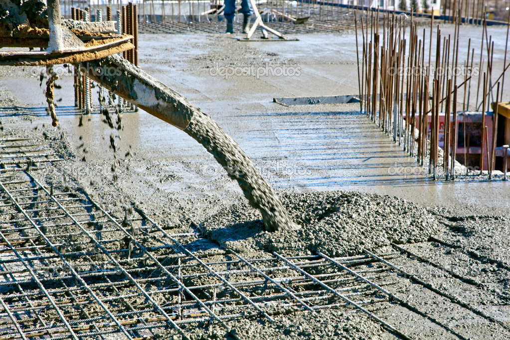 Concrete Pouring In Commercial Construction Stock Photo