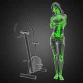 Woman radiography scan in gym room — Foto Stock