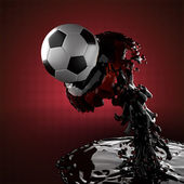 Soccer ball in liquid — Stock Photo