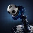 Soccer ball in liquid — Stock Photo #9408950