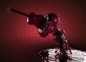 Guitar in water — Stock Photo