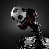 Balón de fútbol en líquido — Foto de Stock