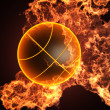 Basketball in fire - Stock Photo