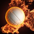 Volleyball ball in fire — Stock Photo