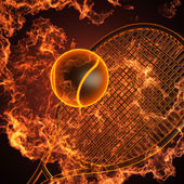 Tennis racket in fire — ストック写真