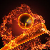 Baseball in fire — Stock Photo