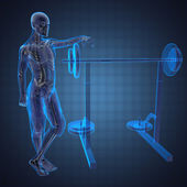 Human radiography scan in gym room — Stock Photo