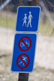 Pedestrian walking permitted, No bicycling or skiing — Stock Photo