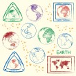 Planet Earth Stamps Icon Set — Stock Vector
