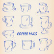Stock Vector: Hand Drawn Coffee Mugs Icon Set