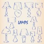 Hand Drawn Interior Lamps Icon Set — Stock Vector
