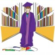 Stock Vector: Graduation in Library