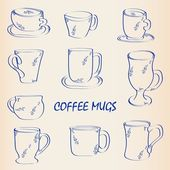 Hand Drawn Coffee Mugs Icon Set — Stock Vector