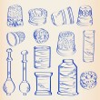 Hand Drawn Sewing Icon Set - Stock Vector