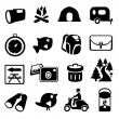 Camping Hiking Icons — Stock Vector