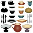 Stock Vector: Dinnerware Icons