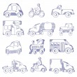 Sketching of transportation icons — Vettoriali Stock