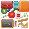 School Supplies Icons — Stock Vector
