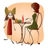 Mother and Daughter in Cafe — Stock Vector