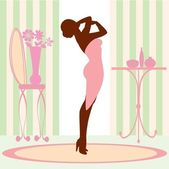 Chic Woman in vanity room — Stock Vector