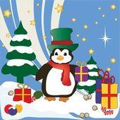 Christmas Penguin — Vetor de Stock
