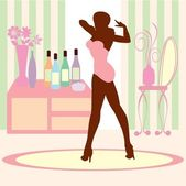 Chic Woman in vanity room — Stockvector