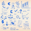 Hand drawn Finance Icons — Imagen vectorial