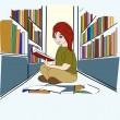 Hand drawn Student in Library — Stock Vector