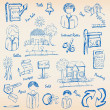 Hand drawn real estate icons — Stock Vector