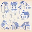 Hand Drawn Little Town Icon Set - Stock Vector