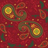 Beautiful Christmas Paisley Design in Red — Stock Vector