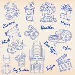 Hand Drawn Movie Icons Set — Stock Vector