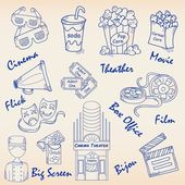 Hand Drawn Movie Icons Set — Stock Vector
