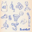 Hand Drawn Basketball Icons Set - Stock Vector