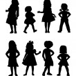 Young Girls Silhouettes — Stock Vector