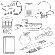 Coloring Book Icons Set — Stock Vector