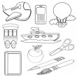 Stock Vector: Coloring Book Icons Set