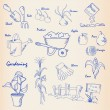 Stock Vector: Hand Drawn Gardening Icon Set