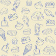 Stock Vector: Hand Drawn Seamless Dessert Icons