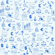 Hand Drawn Seamless Finance Icons — Stock Vector