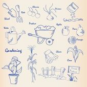 Hand Drawn Gardening Icon Set — Stock Vector