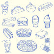 Hand Drawn Fast Food Icon Set - Stock Vector