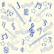 Drawn Music Notes Icon Set — Imagens vectoriais em stock