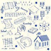 Hand Drawn School Icon Set — Stock Vector