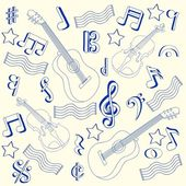 Drawn Music Notes Icon Set — Stock Vector